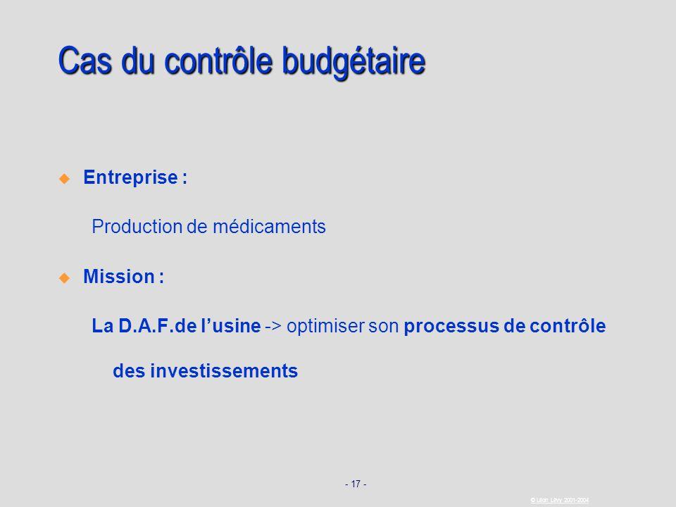 - 17 - © Léon Lévy 2001-2004 Cas du contrôle budgétaire Entreprise : Production de médicaments Mission : La D.A.F.de lusine -> optimiser son processus