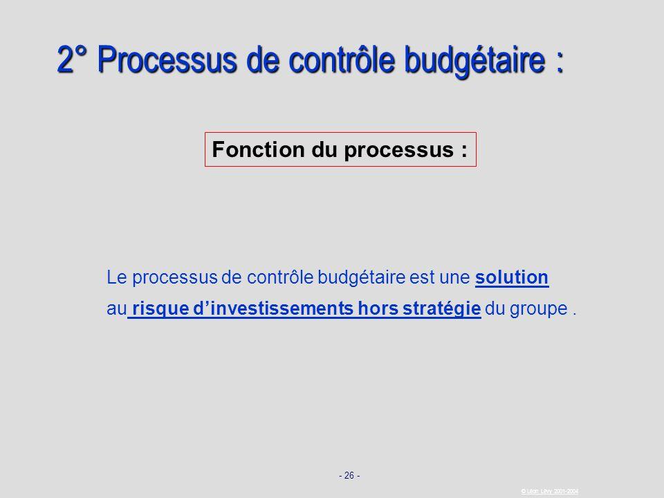 - 26 - © Léon Lévy 2001-2004 Le processus de contrôle budgétaire est une solution au risque dinvestissements hors stratégie du groupe. Fonction du pro