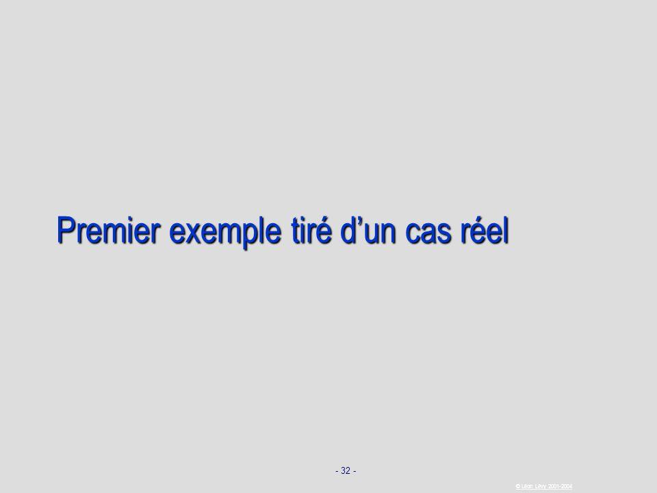 - 32 - © Léon Lévy 2001-2004 Premier exemple tiré dun cas réel