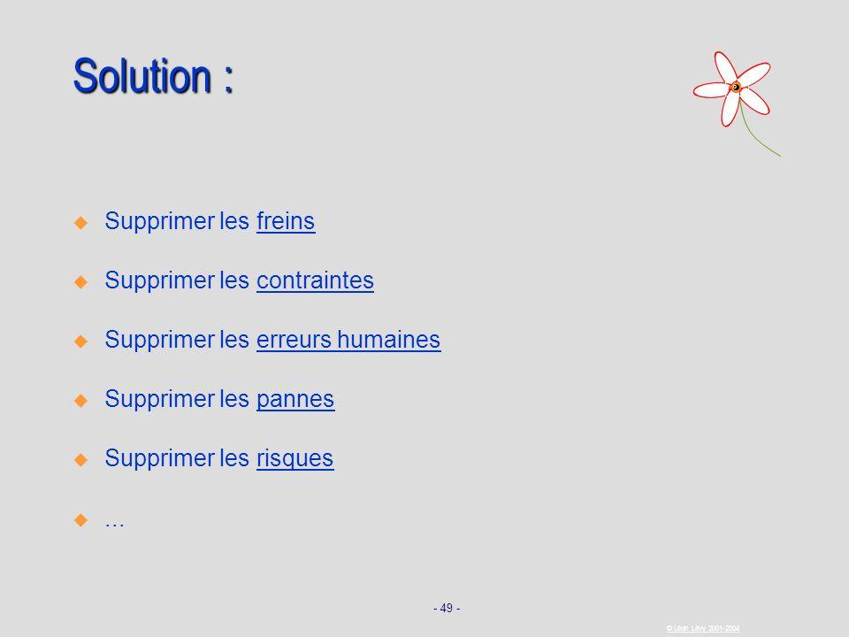 - 49 - © Léon Lévy 2001-2004 Solution : Supprimer les freins Supprimer les contraintes Supprimer les erreurs humaines Supprimer les pannes Supprimer l