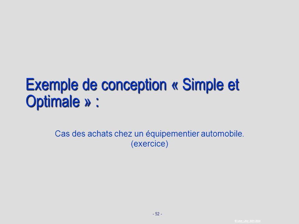 - 52 - © Léon Lévy 2001-2004 Exemple de conception « Simple et Optimale » : Cas des achats chez un équipementier automobile. (exercice)
