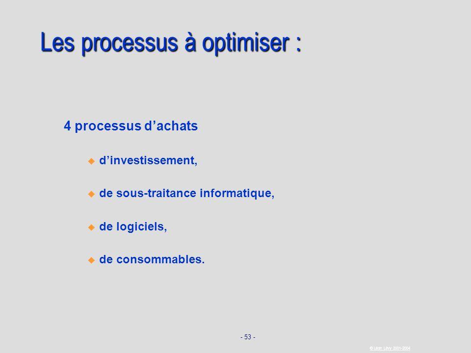 - 53 - © Léon Lévy 2001-2004 Les processus à optimiser : 4 processus dachats dinvestissement, de sous-traitance informatique, de logiciels, de consomm