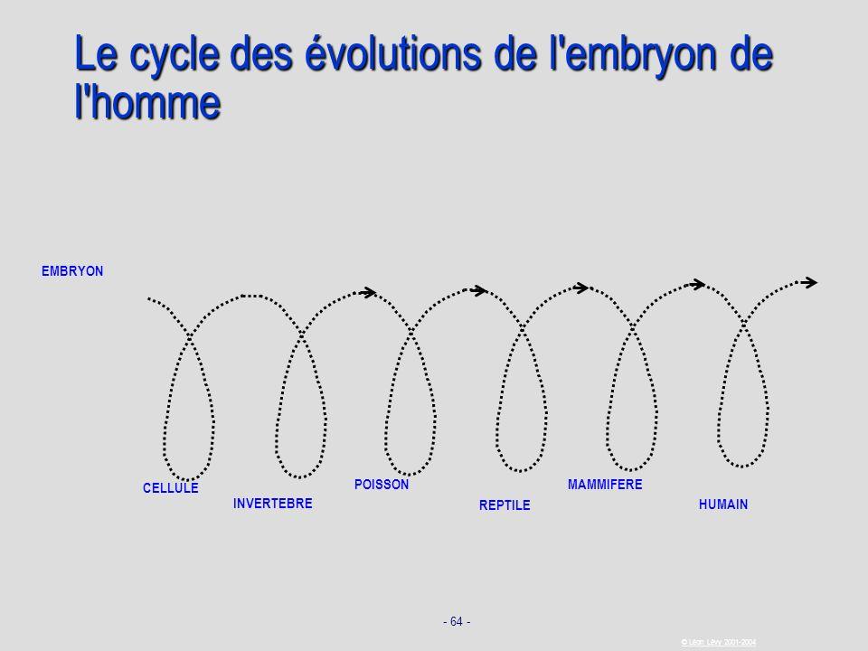 - 64 - © Léon Lévy 2001-2004 Le cycle des évolutions de l'embryon de l'homme CELLULE INVERTEBRE POISSON REPTILE HUMAIN EMBRYON MAMMIFERE