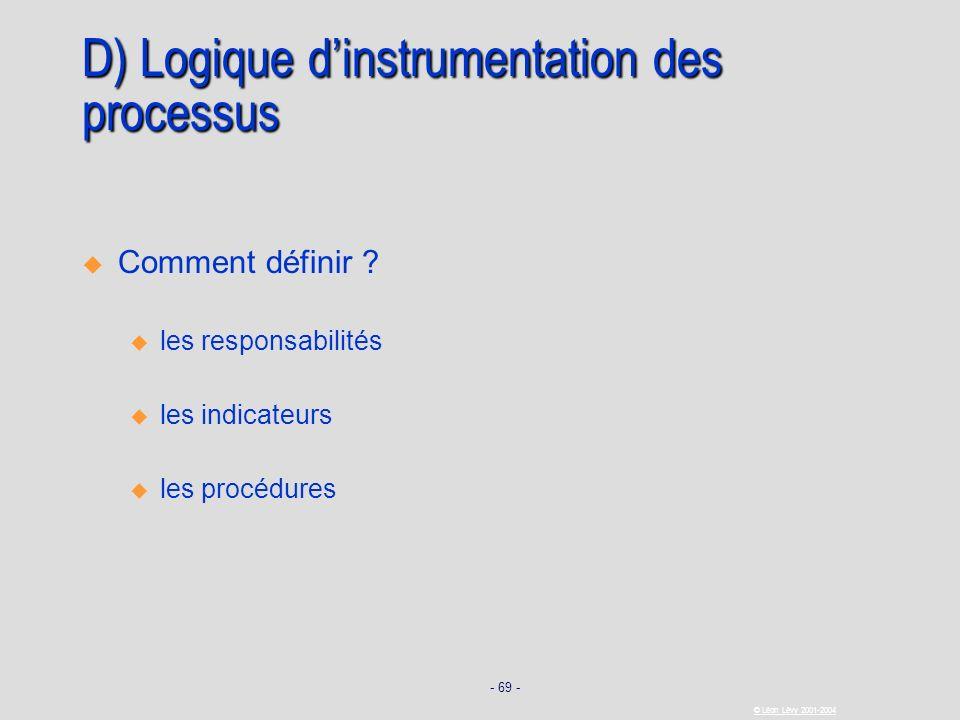 - 69 - © Léon Lévy 2001-2004 D) Logique dinstrumentation des processus Comment définir ? u u les responsabilités u u les indicateurs u u les procédure