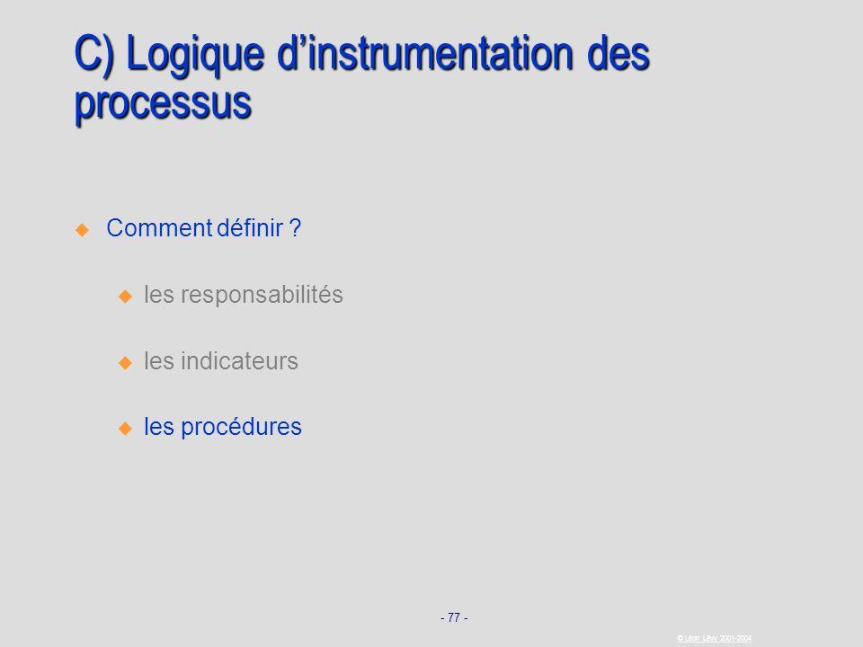 - 77 - © Léon Lévy 2001-2004 C) Logique dinstrumentation des processus Comment définir ? u u les responsabilités u u les indicateurs u u les procédure