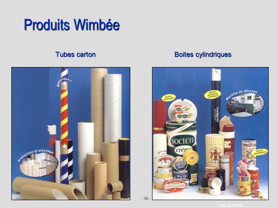 - 90 - © Léon Lévy 2001-2004 Produits Wimbée Tubes carton Boites cylindriques