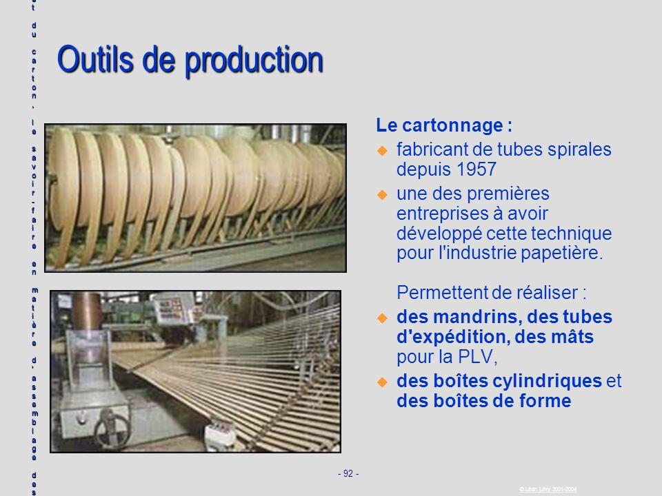- 92 - © Léon Lévy 2001-2004 Outils de production Le cartonnage : u u fabricant de tubes spirales depuis 1957 u u une des premières entreprises à avoi