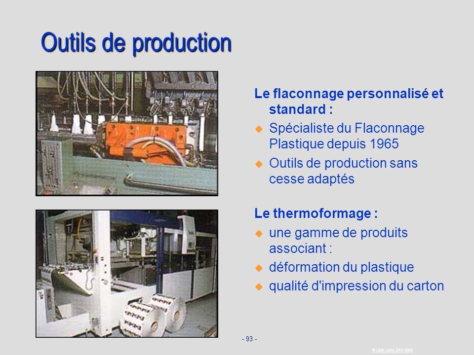 - 93 - © Léon Lévy 2001-2004 Outils de production Le flaconnage personnalisé et standard : u u Spécialiste du Flaconnage Plastique depuis 1965 u u Out
