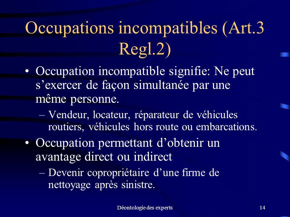 Déontologie des experts14 Occupations incompatibles (Art.3 Regl.2) Occupation incompatible signifie: Ne peut sexercer de façon simultanée par une même