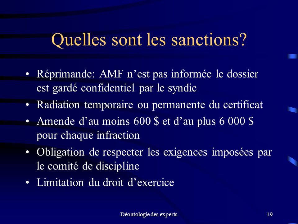 Déontologie des experts19 Quelles sont les sanctions? Réprimande: AMF nest pas informée le dossier est gardé confidentiel par le syndic Radiation temp