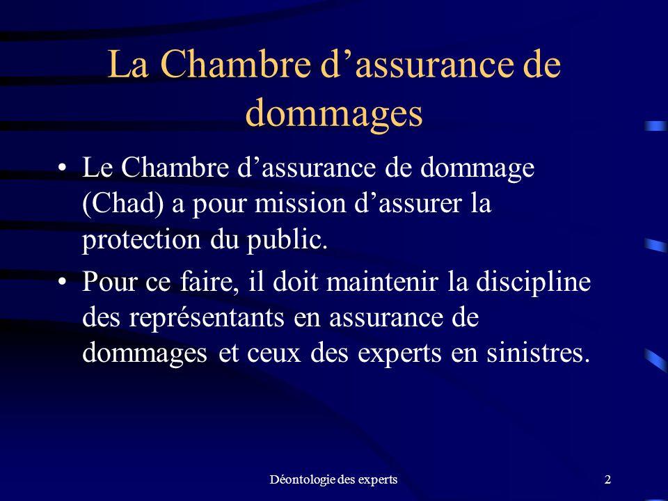 Déontologie des experts2 La Chambre dassurance de dommages Le Chambre dassurance de dommage (Chad) a pour mission dassurer la protection du public. Po