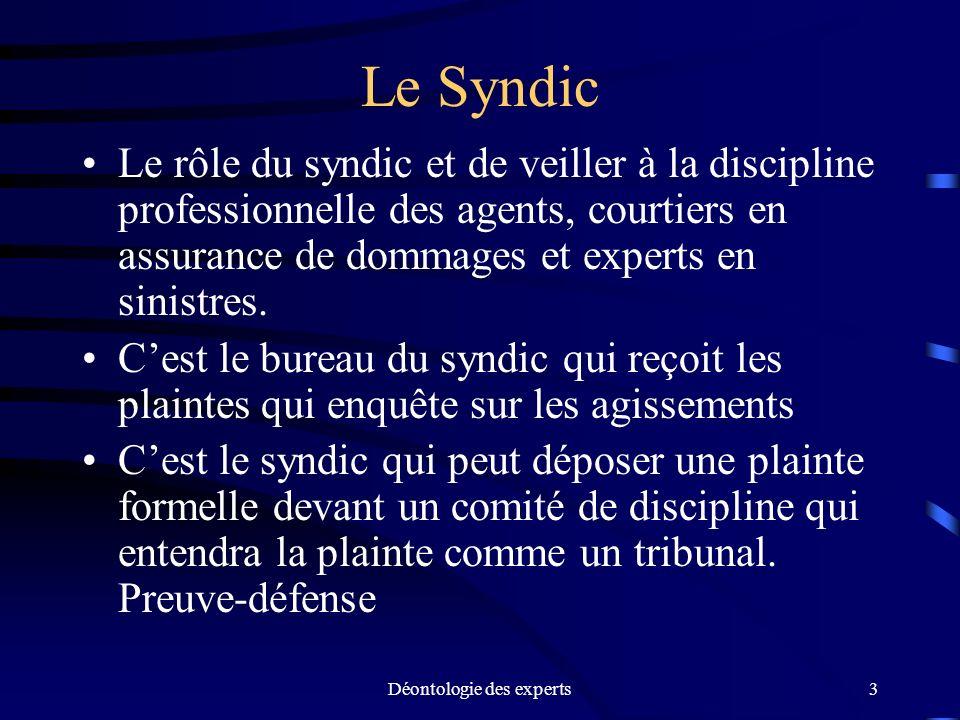 Déontologie des experts3 Le Syndic Le rôle du syndic et de veiller à la discipline professionnelle des agents, courtiers en assurance de dommages et e