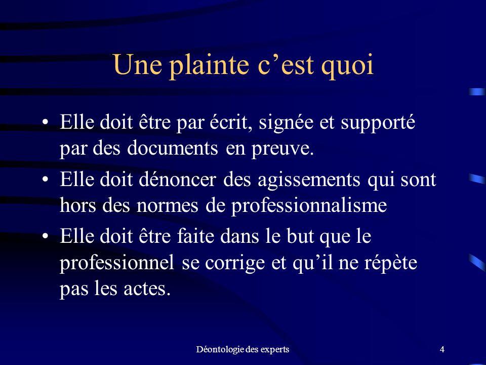 Déontologie des experts15 Ne pas intervenir auprès du plaignant (art.58) Lorsque la plainte est déposée, lintimé ne peut communiquer avec le plaignant.