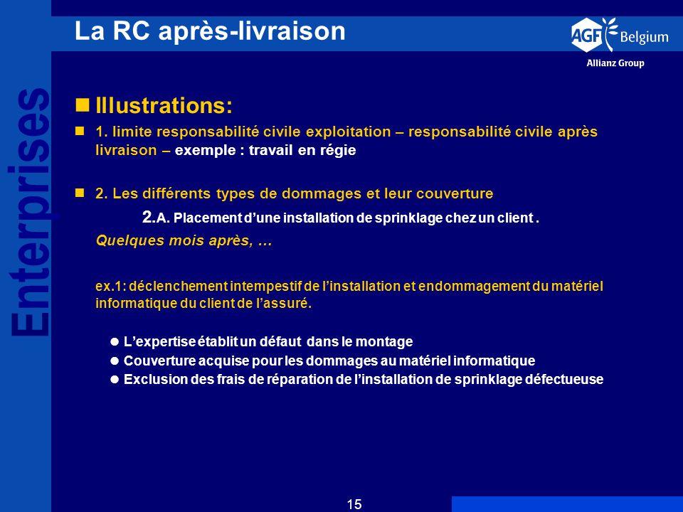E nterprises 15 La RC après-livraison Illustrations: 1.