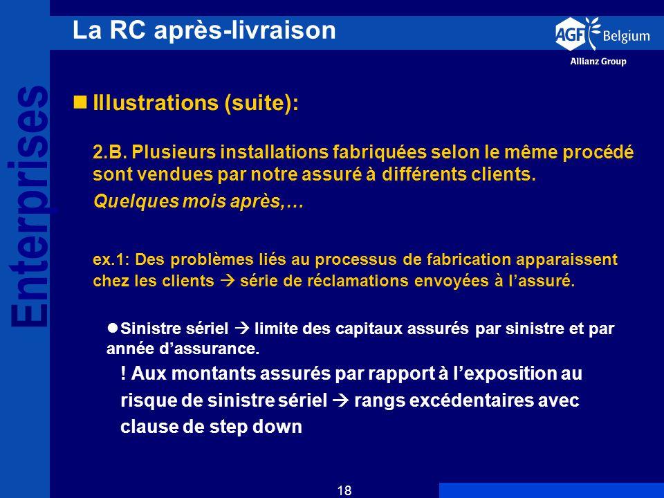E nterprises 18 La RC après-livraison Illustrations (suite): 2.B.