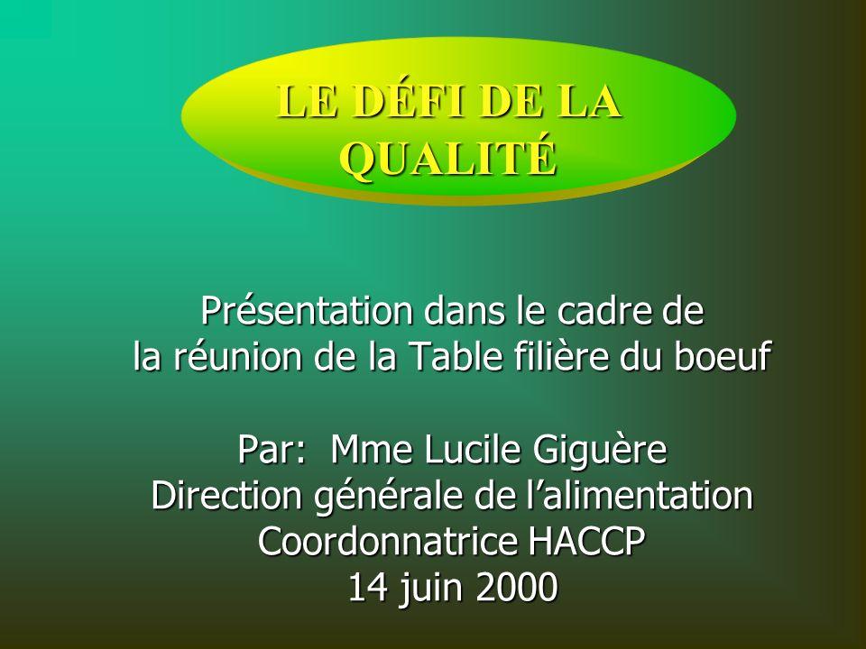 Présentation dans le cadre de la réunion de la Table filière du boeuf Par: Mme Lucile Giguère Direction générale de lalimentation Coordonnatrice HACCP 14 juin 2000 9 mars 1999 LE DÉFI DE LA QUALITÉ