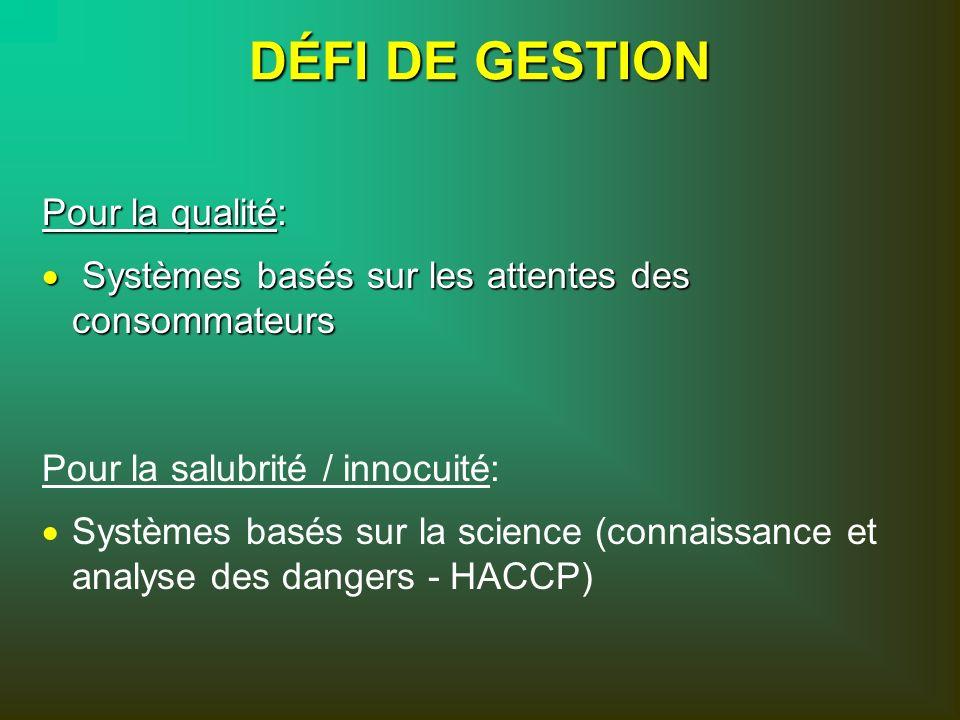 Pour la salubrité / innocuité: Systèmes basés sur la science (connaissance et analyse des dangers - HACCP) Pour la qualité: Systèmes basés sur les att