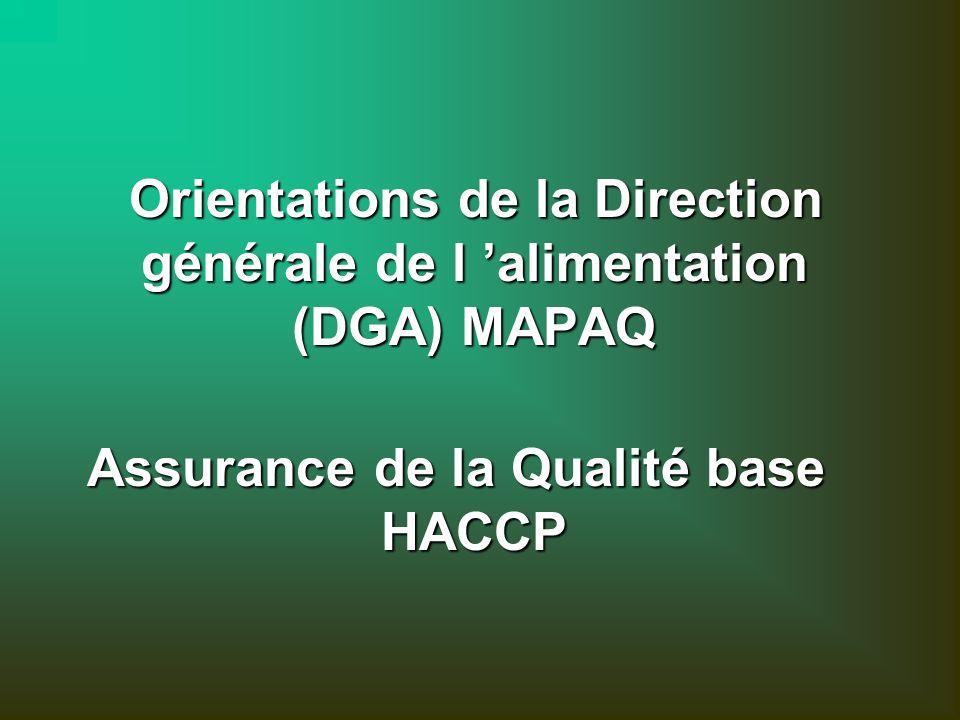 Orientations de la Direction générale de l alimentation (DGA) MAPAQ Orientations de la Direction générale de l alimentation (DGA) MAPAQ Assurance de la Qualité base HACCP