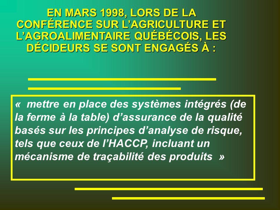 EN MARS 1998, LORS DE LA CONFÉRENCE SUR LAGRICULTURE ET LAGROALIMENTAIRE QUÉBÉCOIS, LES DÉCIDEURS SE SONT ENGAGÉS À : « mettre en place des systèmes intégrés (de la ferme à la table) dassurance de la qualité basés sur les principes danalyse de risque, tels que ceux de lHACCP, incluant un mécanisme de traçabilité des produits »