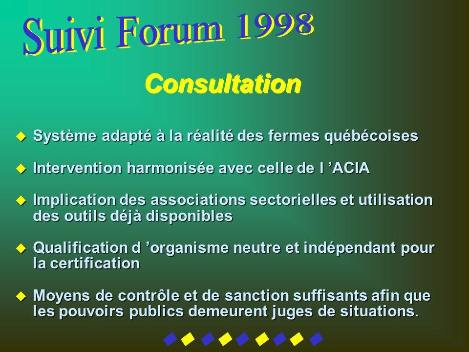 u Système adapté à la réalité des fermes québécoises u Intervention harmonisée avec celle de l ACIA u Implication des associations sectorielles et uti