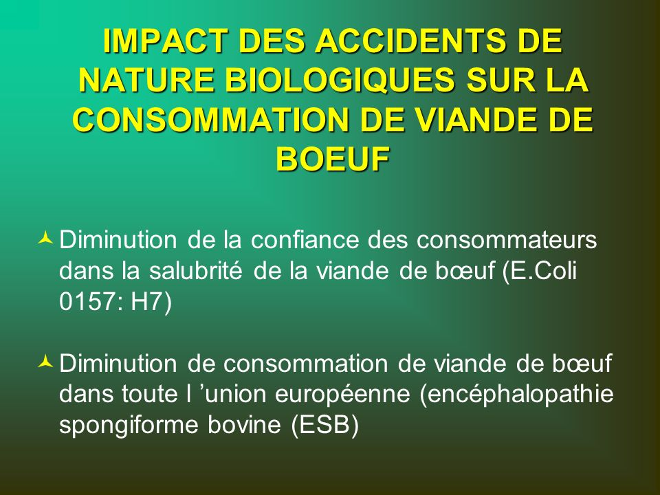 IMPACT DES ACCIDENTS DE NATURE BIOLOGIQUES SUR LA CONSOMMATION DE VIANDE DE BOEUF © ©Diminution de la confiance des consommateurs dans la salubrité de la viande de bœuf (E.Coli 0157: H7) © ©Diminution de consommation de viande de bœuf dans toute l union européenne (encéphalopathie spongiforme bovine (ESB)