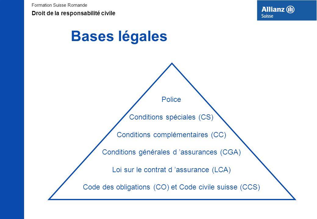 Formation Suisse Romande Bases légales Police Conditions spéciales (CS) Conditions complémentaires (CC) Conditions générales d assurances (CGA) Loi su