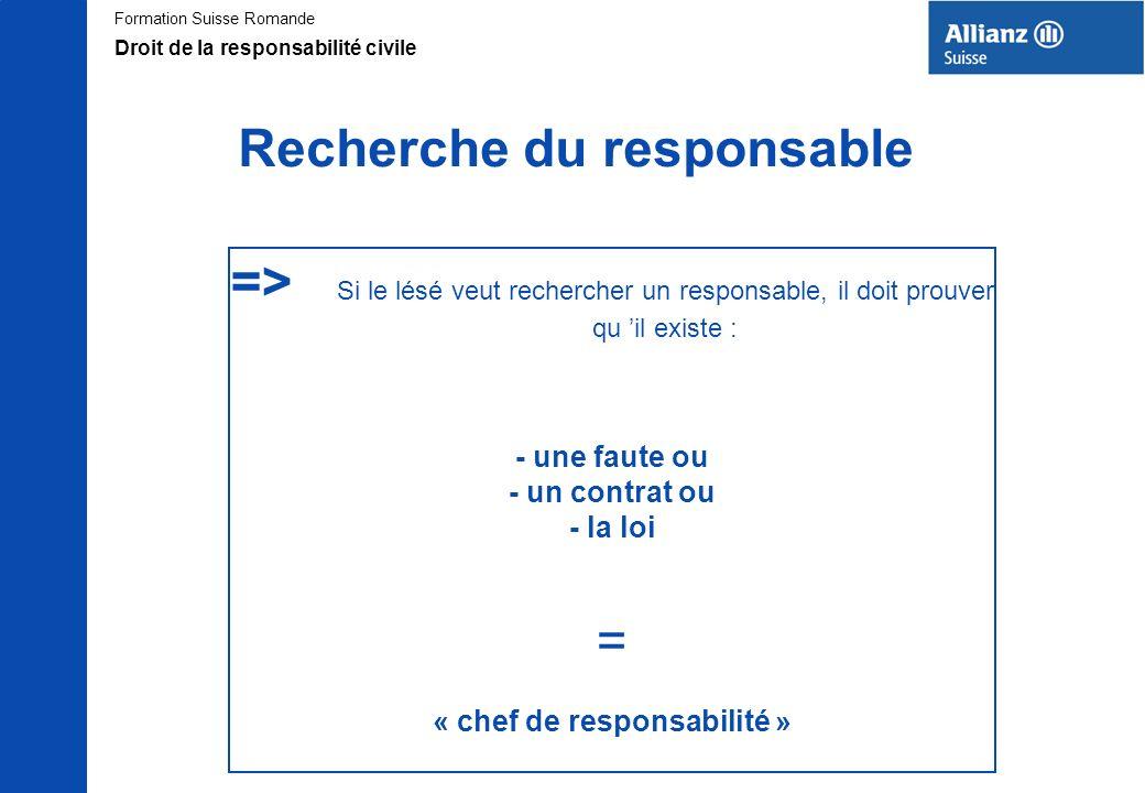 Formation Suisse Romande Recherche du responsable => Si le lésé veut rechercher un responsable, il doit prouver qu il existe : - une faute ou - un con