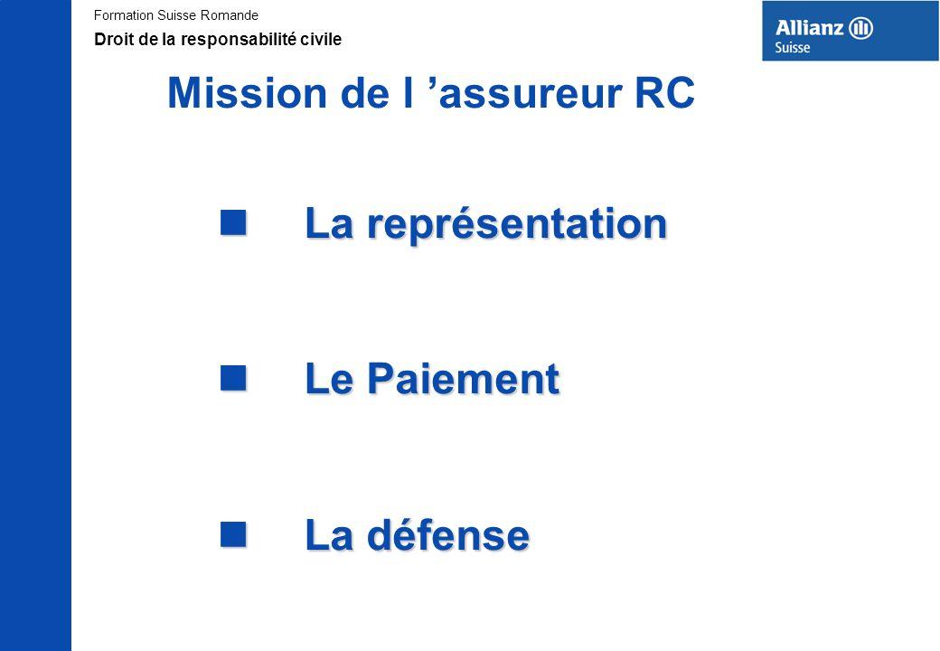 Formation Suisse Romande Mission de l assureur RC n La représentation n Le Paiement n La défense Droit de la responsabilité civile