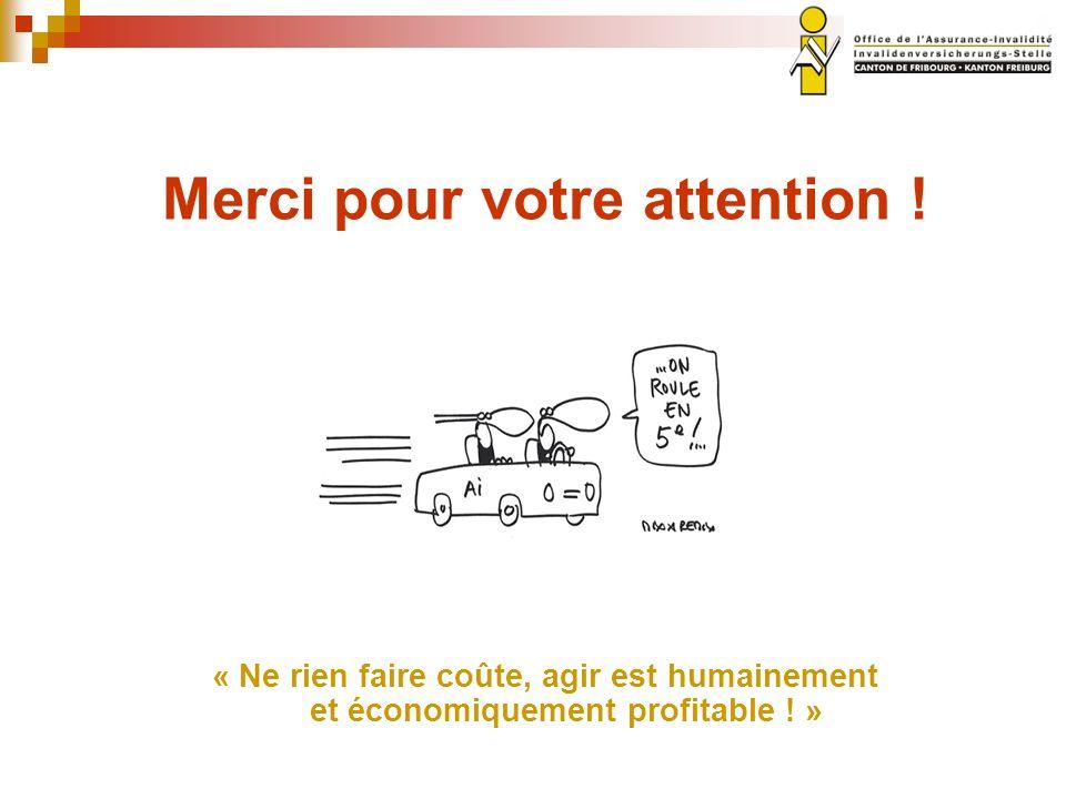 Merci pour votre attention ! « Ne rien faire coûte, agir est humainement et économiquement profitable ! »