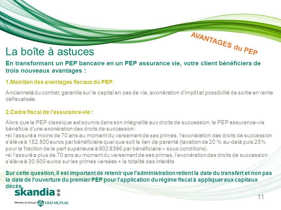 En transformant un PEP bancaire en un PEP assurance vie, votre client bénéficiera de trois nouveaux avantages : 1.Maintien des avantages fiscaux du PE