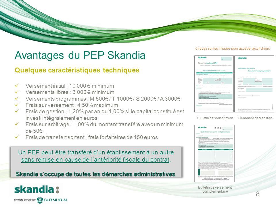 Avantages du PEP Skandia Quelques caractéristiques techniques Versement initial : 10 000 minimum Versements libres : 3 000 minimum Versements programm