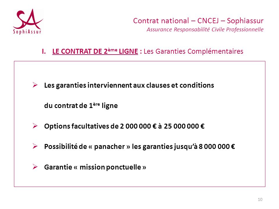 Les garanties interviennent aux clauses et conditions du contrat de 1 ère ligne Options facultatives de 2 000 000 à 25 000 000 Possibilité de « panach