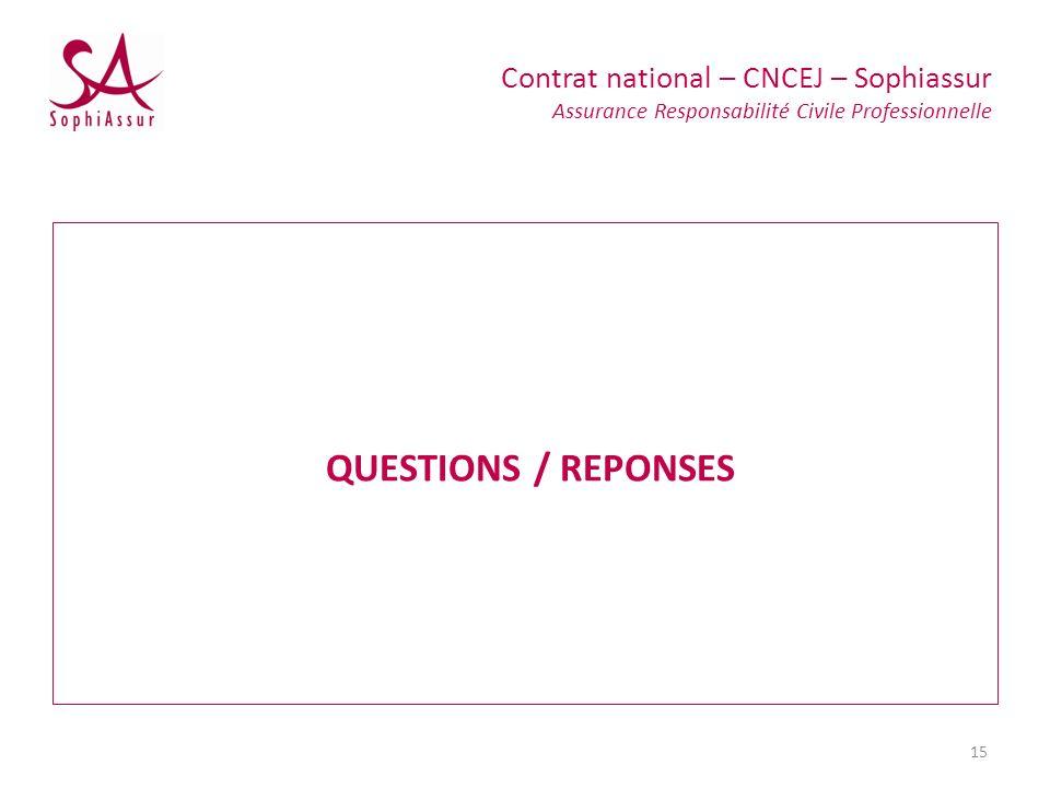 QUESTIONS / REPONSES Contrat national – CNCEJ – Sophiassur Assurance Responsabilité Civile Professionnelle 15