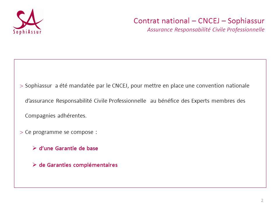 Sophiassur a été mandatée par le CNCEJ, pour mettre en place une convention nationale dassurance Responsabilité Civile Professionnelle au bénéfice des