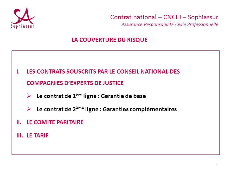 I.LES CONTRATS SOUSCRITS PAR LE CONSEIL NATIONAL DES COMPAGNIES DEXPERTS DE JUSTICE Le contrat de 1 ère ligne : Garantie de base Le contrat de 2 ème l