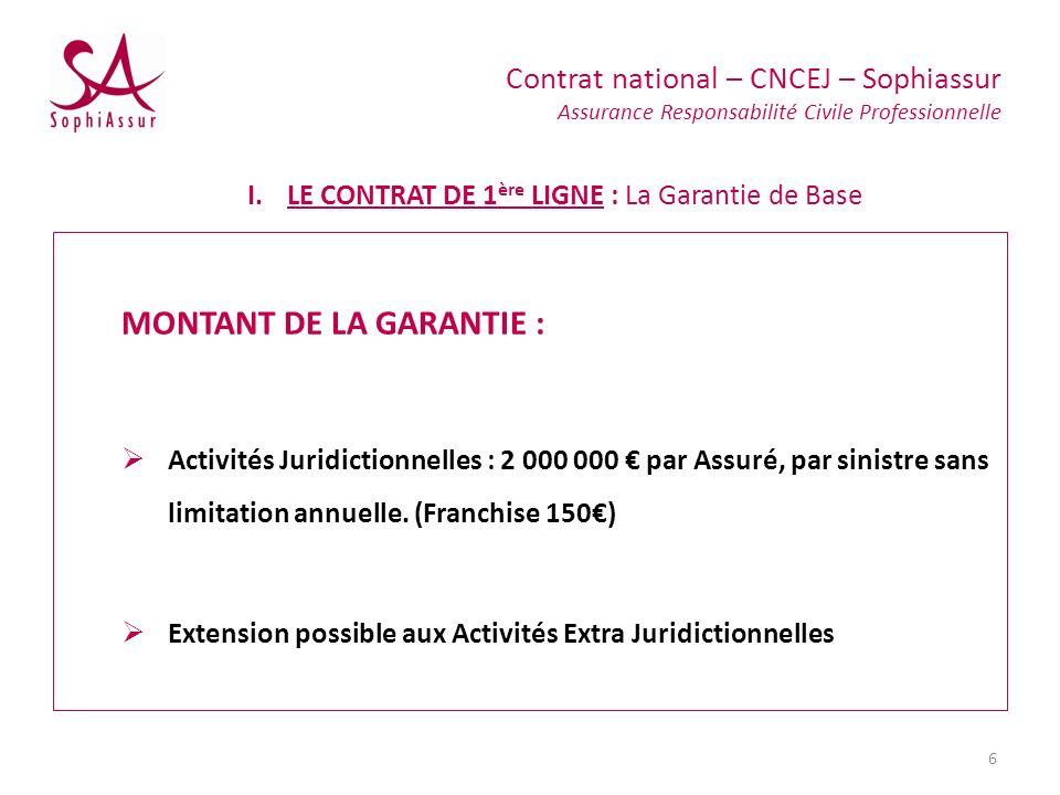 MONTANT DE LA GARANTIE : Activités Juridictionnelles : 2 000 000 par Assuré, par sinistre sans limitation annuelle. (Franchise 150) Extension possible
