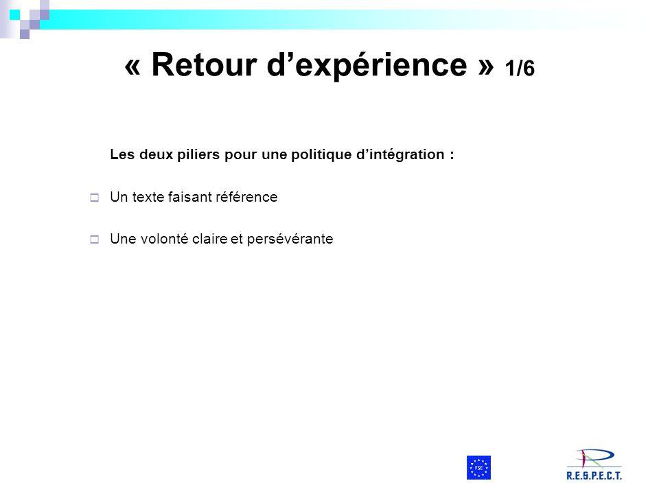 « Retour dexpérience » 1/6 Les deux piliers pour une politique dintégration : Un texte faisant référence Une volonté claire et persévérante
