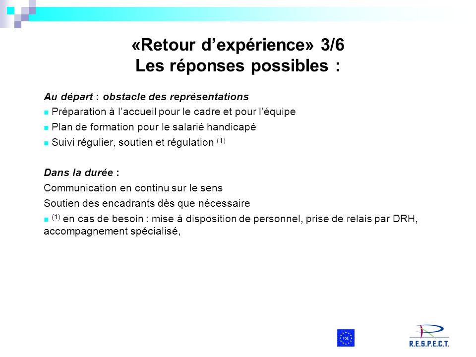 «Retour dexpérience» 3/6 Les réponses possibles : Au départ : obstacle des représentations Préparation à laccueil pour le cadre et pour léquipe Plan d