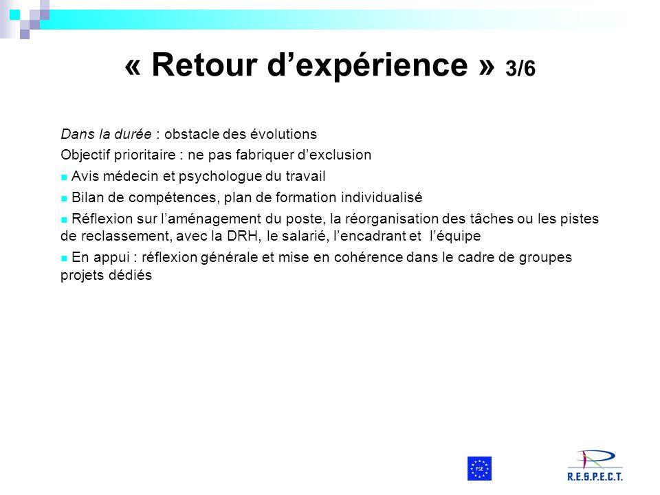 « Retour dexpérience » 3/6 Dans la durée : obstacle des évolutions Objectif prioritaire : ne pas fabriquer dexclusion Avis médecin et psychologue du t