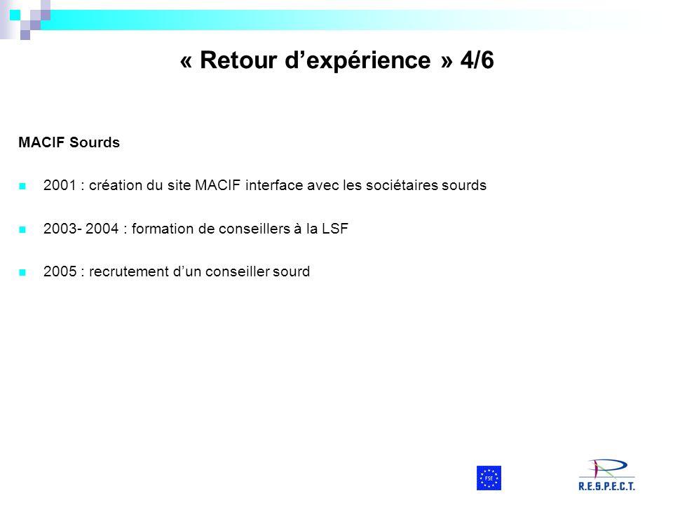 MACIF Sourds 2001 : création du site MACIF interface avec les sociétaires sourds 2003- 2004 : formation de conseillers à la LSF 2005 : recrutement dun
