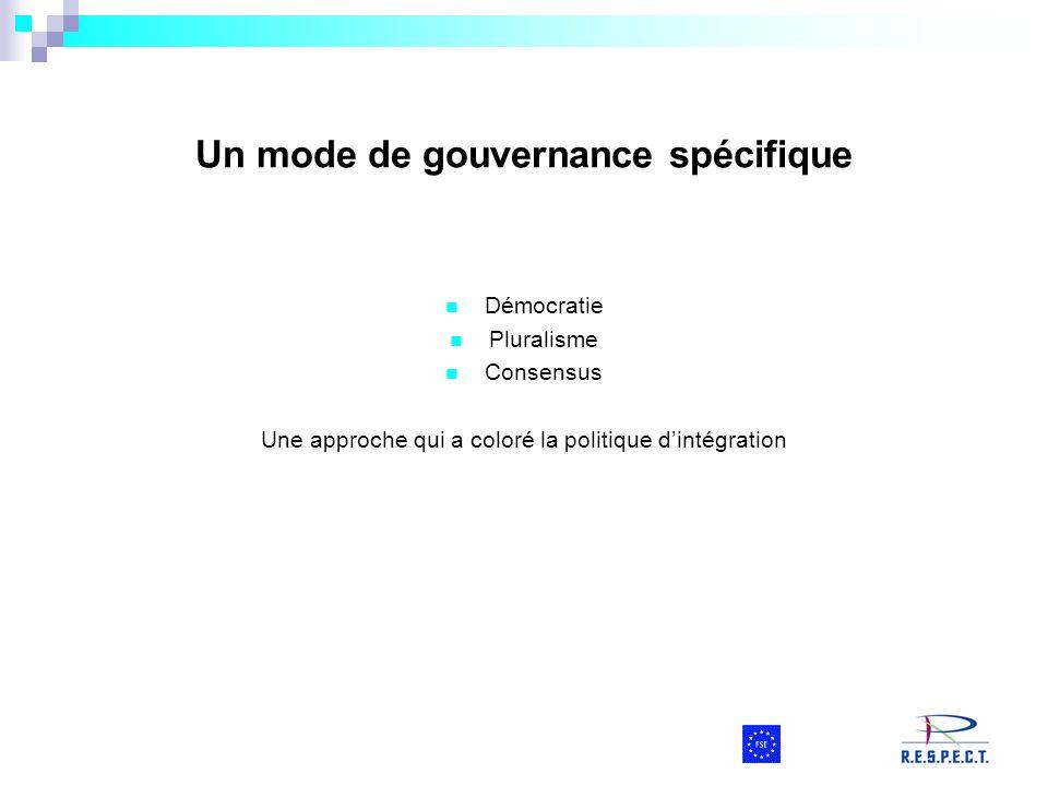 Un mode de gouvernance spécifique Démocratie Pluralisme Consensus Une approche qui a coloré la politique dintégration