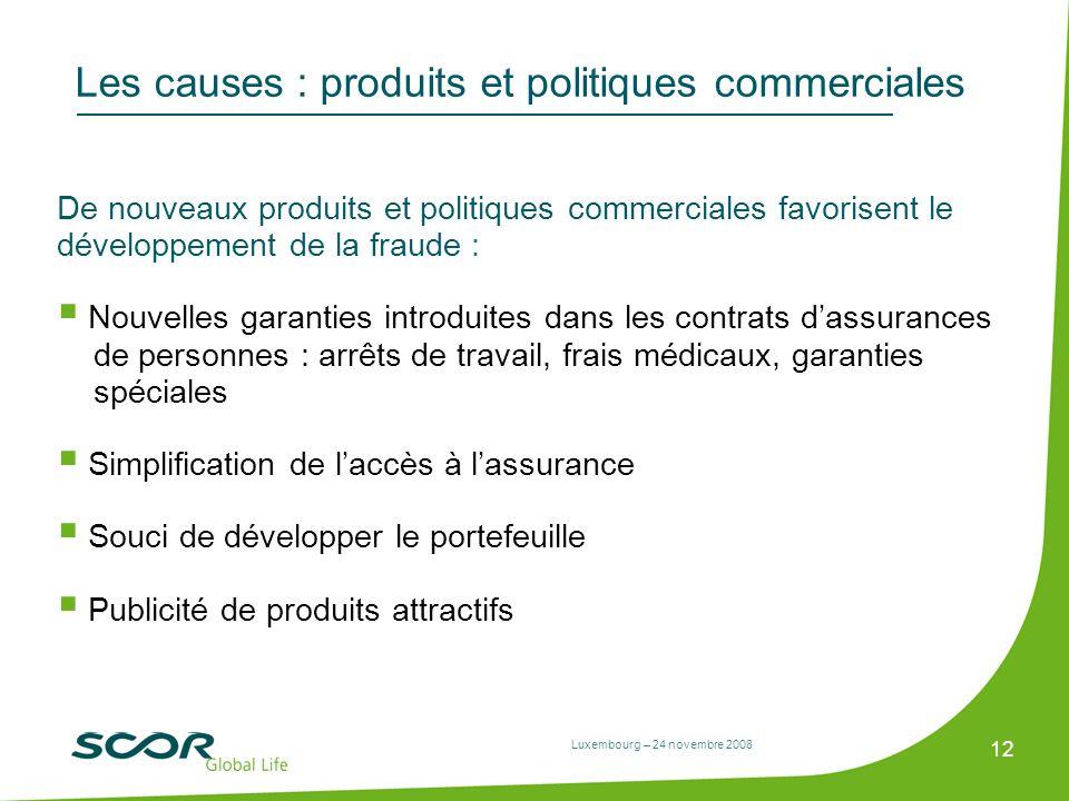 Luxembourg – 24 novembre 2008 12 Les causes : produits et politiques commerciales De nouveaux produits et politiques commerciales favorisent le dévelo