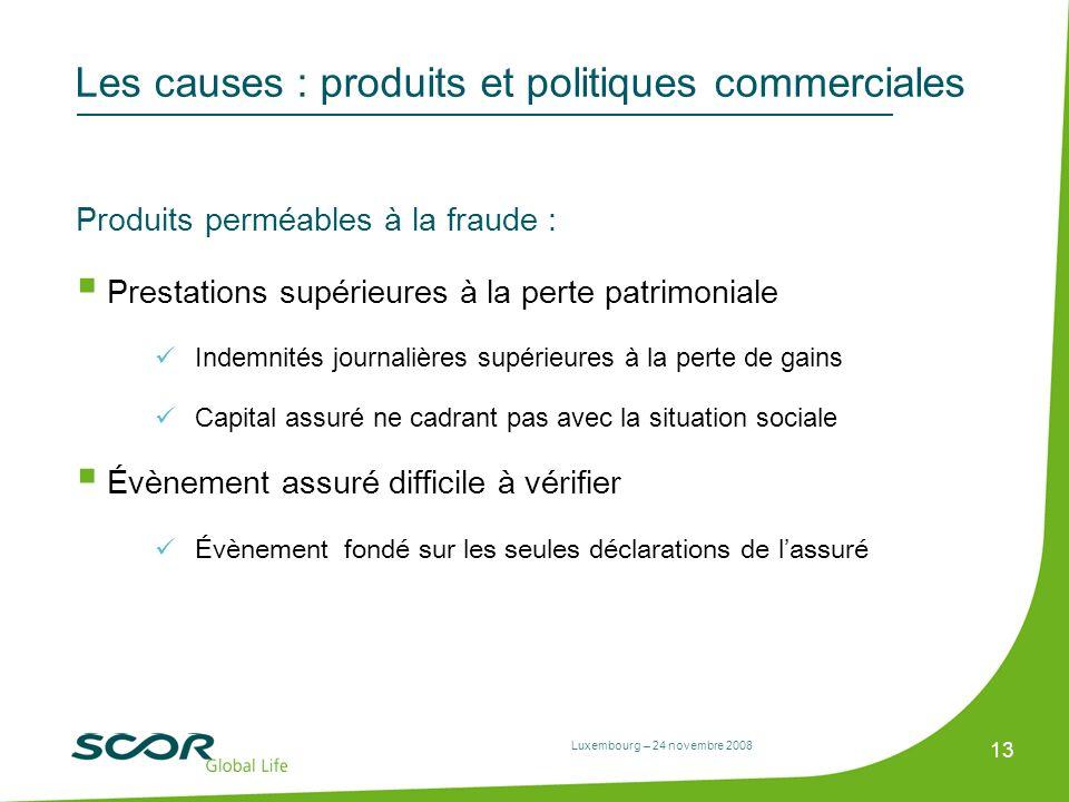 Luxembourg – 24 novembre 2008 13 Les causes : produits et politiques commerciales Produits perméables à la fraude : Prestations supérieures à la perte