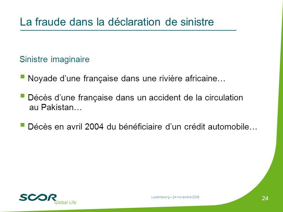 Luxembourg – 24 novembre 2008 24 La fraude dans la déclaration de sinistre Sinistre imaginaire Noyade dune française dans une rivière africaine… Décès