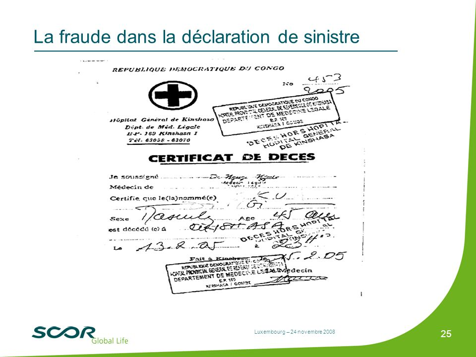 Luxembourg – 24 novembre 2008 25 La fraude dans la déclaration de sinistre