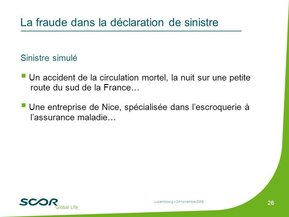 Luxembourg – 24 novembre 2008 26 La fraude dans la déclaration de sinistre Sinistre simulé Un accident de la circulation mortel, la nuit sur une petit