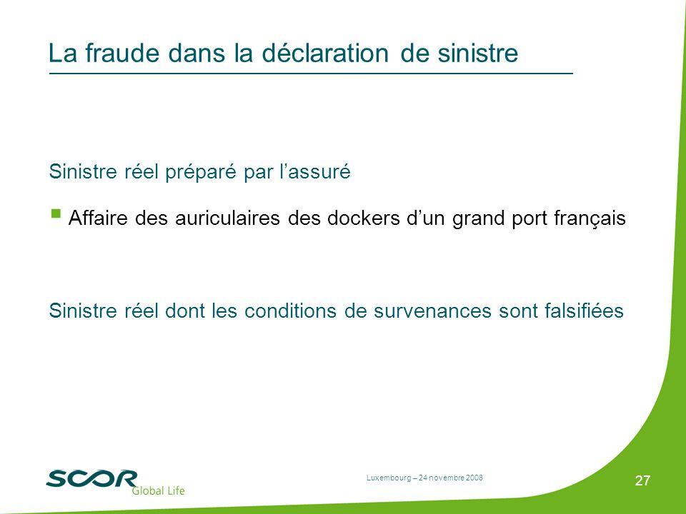 Luxembourg – 24 novembre 2008 27 La fraude dans la déclaration de sinistre Sinistre réel préparé par lassuré Affaire des auriculaires des dockers dun