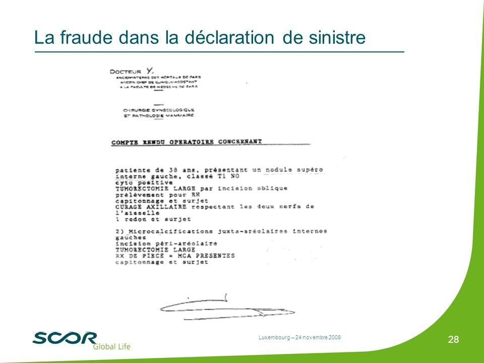 Luxembourg – 24 novembre 2008 28 La fraude dans la déclaration de sinistre