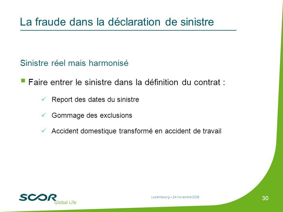 Luxembourg – 24 novembre 2008 30 La fraude dans la déclaration de sinistre Sinistre réel mais harmonisé Faire entrer le sinistre dans la définition du