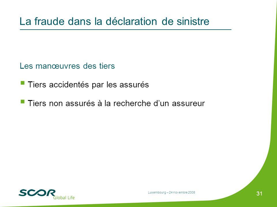 Luxembourg – 24 novembre 2008 31 La fraude dans la déclaration de sinistre Les manœuvres des tiers Tiers accidentés par les assurés Tiers non assurés
